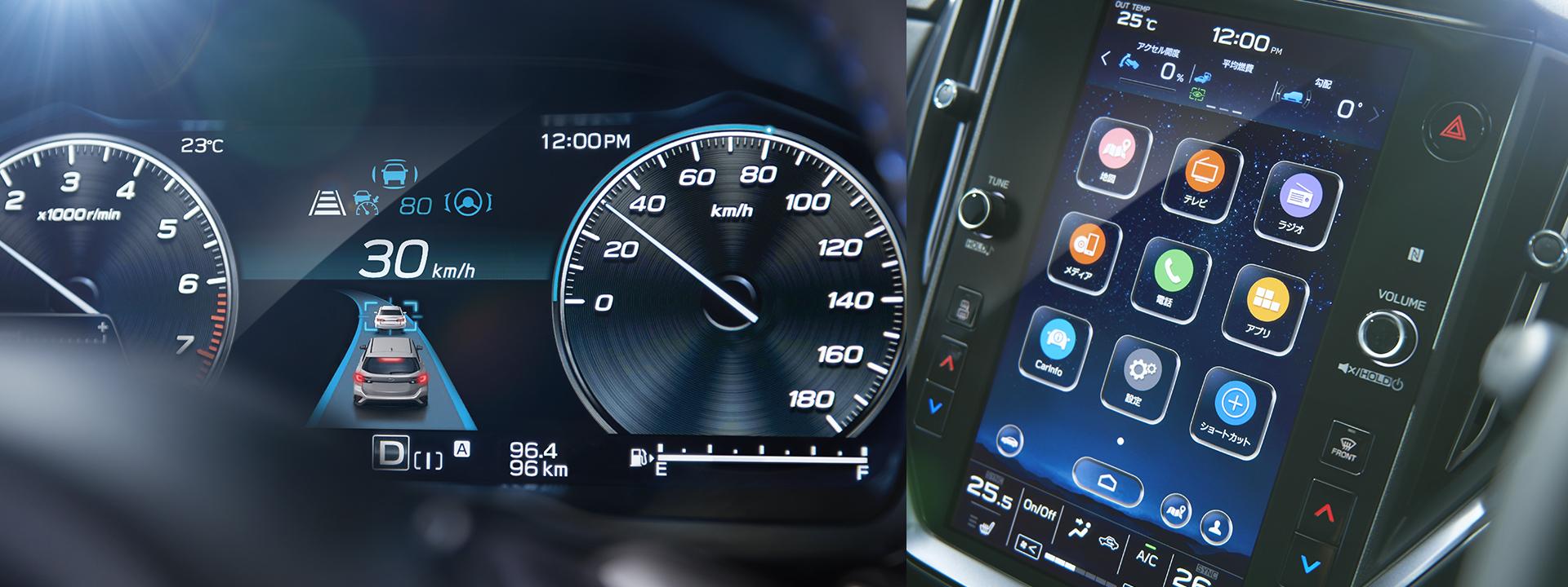 レヴォーグ 12.3インチフル液晶メーター 11.6インチセンターインフォメーションディスプレイ ドライバーモニタリングシステム