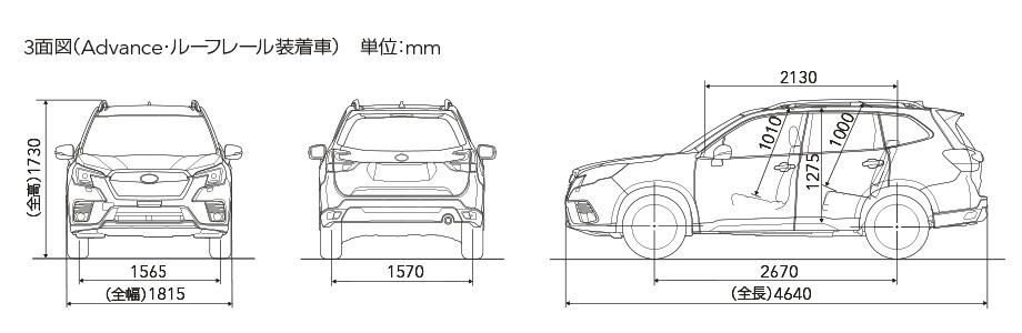 3面図(Advance・ルーフレール装着車) 単位:mm