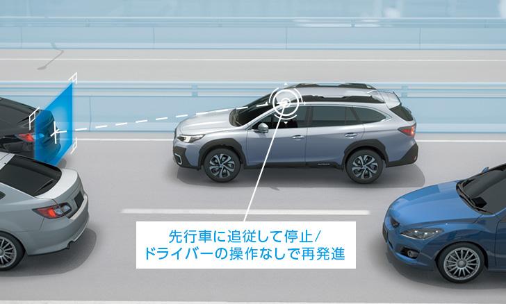 レガシィ アウトバック 渋滞時の再発進をドライバーの操作なしで行う